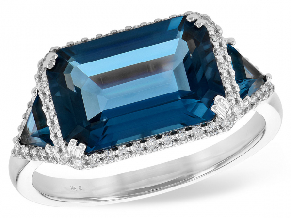 Blue Topax and Diamond Ring by Allison Kaufman